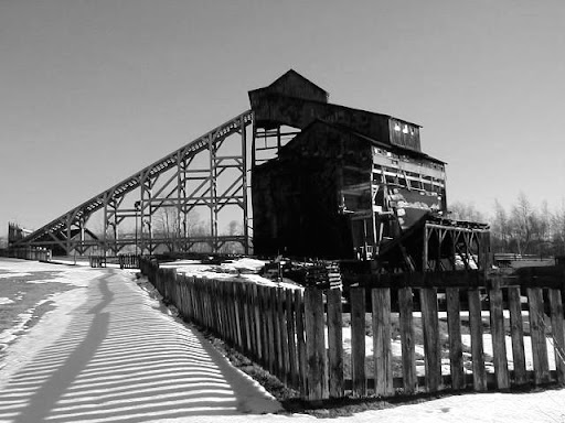 "Eckley Miner's Village, Hazelton, PA. Coal tipple (B&W).  Click your browser's ""back key"" to return to blog."