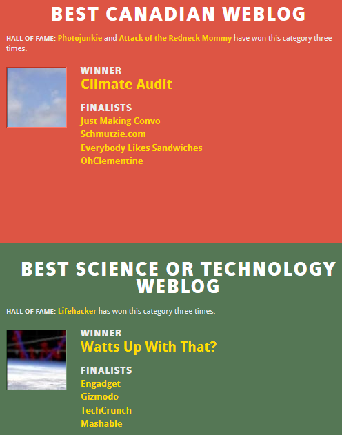 Screenshot of the 2012 Weblog Award winners for 'Best Science or Technology Weblog' and 'Best Canadian Weblog'. The winners are notorious deniers of climate science. http://2012.bloggi.es