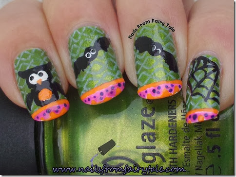 china glaze cha cha cha with owl bats and web 2