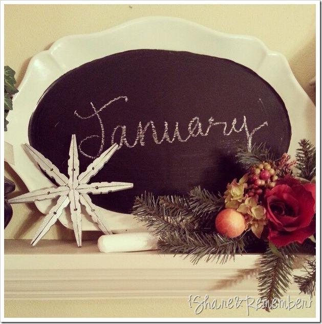 January chalkboard plate