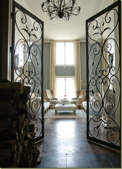 scrolled wrought iron french doors