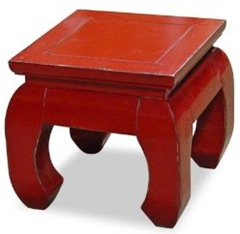 red Chinese ming-style chow leg table