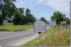 McDowell's Grave marker on Route 11 looking south