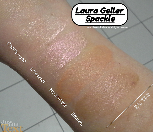 Laura Geller Spackle Makeup Primer; Swatches of Shades Champagne, Ethereal. Neutralizer, Bronze, Original, Review