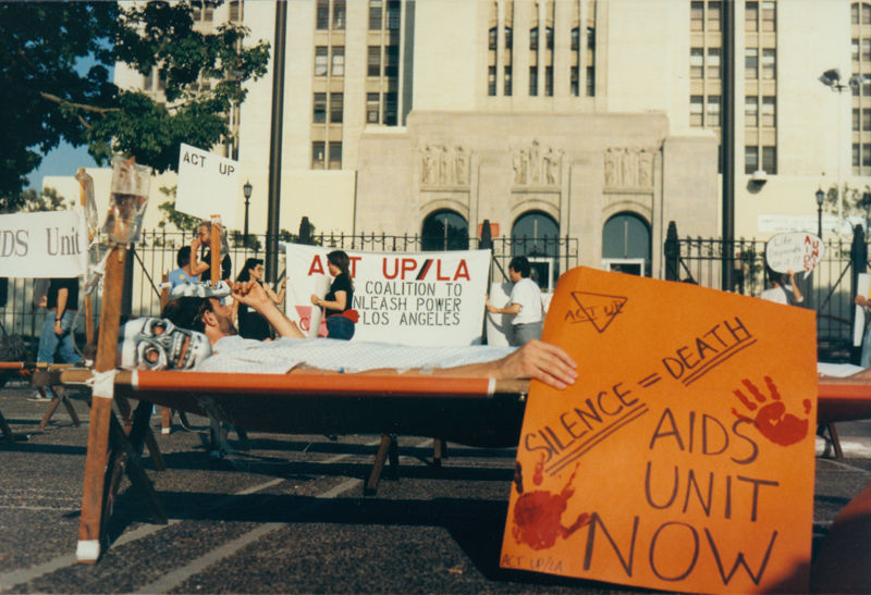 Second vigil at the Los Angeles County/ University of Southern California Hospital. July 9, 1988.