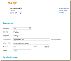 Intra Shop - osobní údaje zákazníka