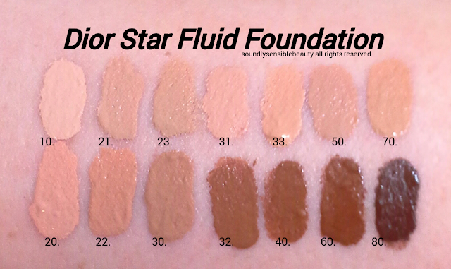 Dior Star Fluid Foundation SPF 30 Swatches of Shades; 10 Ivory, 21 Linen, 23 Peach, 31 Sand, 33 Apricot Beige, 50 Honey Beige, 70 Mocha, Light Beige, 22 Cameo, 30 Medium Beige, 32 Rosy Beige, 40 Honey Beige, 60 Dark Beige, 80 Ebony