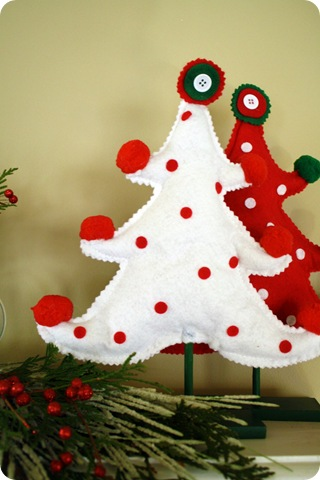 red and white felt trees