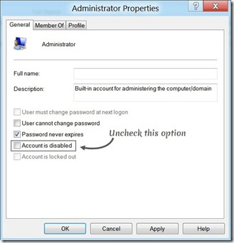 Steps To Enable Built-in Administrator Account In Windows 8 Administrator Properties