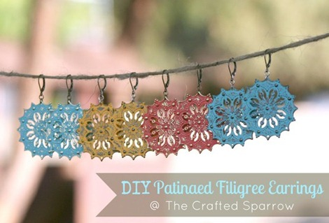 The Crafted Sparrow Patinaed Filigree Earrings