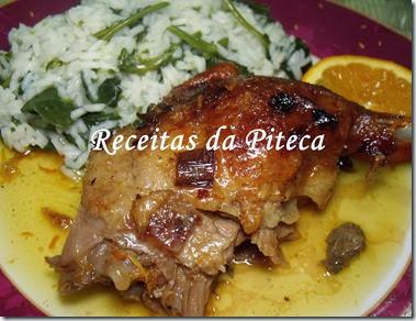 Pato assado com laranja e arroz de grelos Bom Sucesso-empratado perto