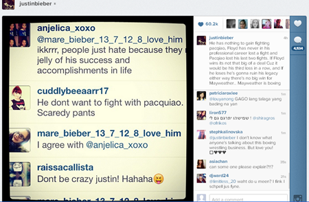 Justin Bieber on Pacquiao's loss