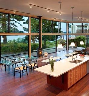 cocina moderna de madera Residencia Port Ludlow