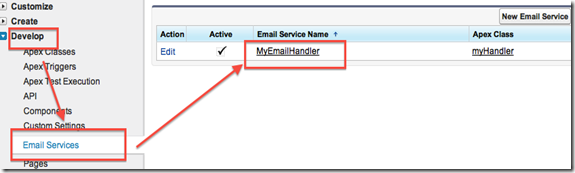 Salesforce Setup > Develop > Email Services menu