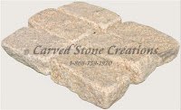 4x8 Granite Cobble Stone Paver, Tumbled Giallo Fantasia Y