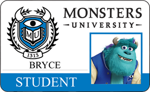 Bryce's Monsters University Student Identification Card