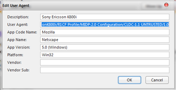 Sony k800i user agent 2