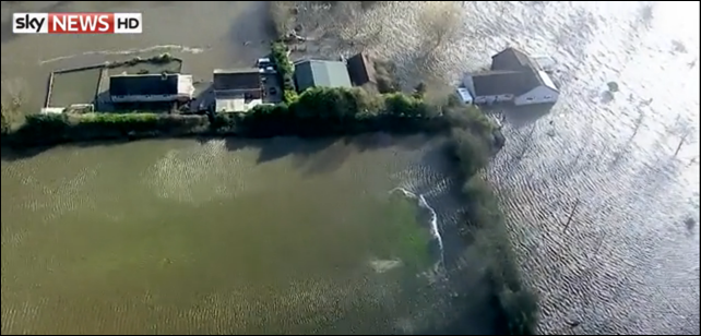 Aerial view of flooding in Britain, 11 February 2014. Photo: Sky News