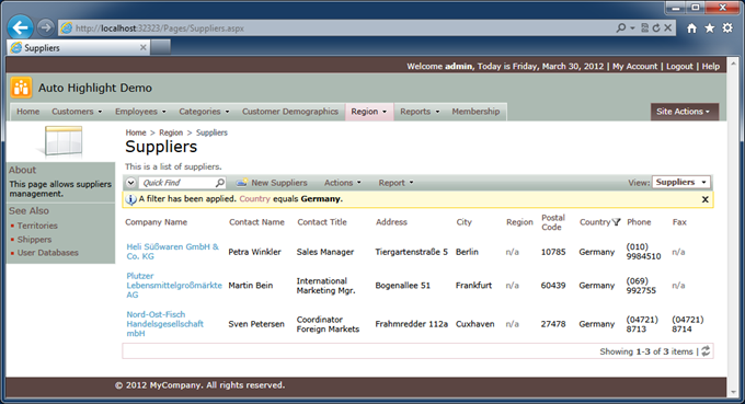 Standard master/detail page 'Suppliers' in the 'Northwind' sample created with Code On Time web application generator