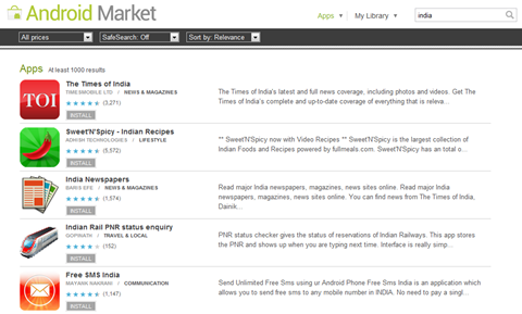 Android Market - Indian Apps