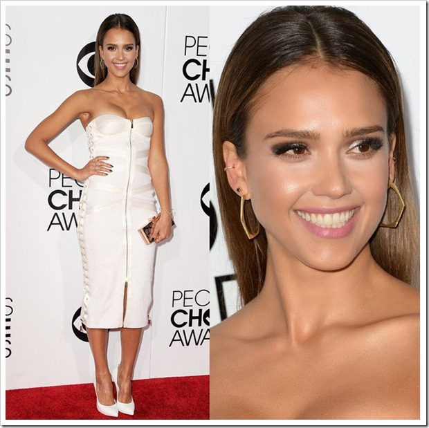 Jessica Alba opted for geometric jewelry from Jennifer Meyer