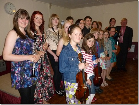 South Cheshire Young Musicians with founder David Ketley on far right