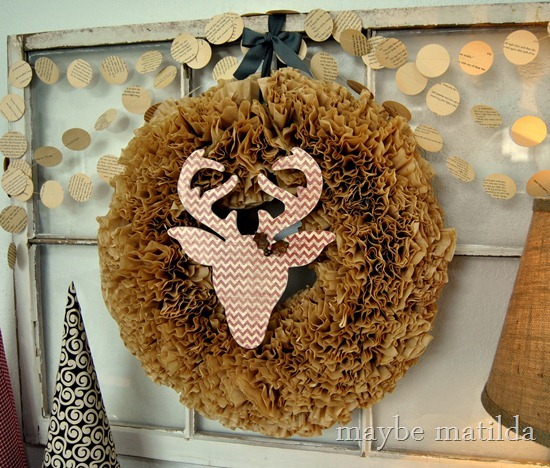 Rustic Reindeer + Coffee Filter Christmas Wreath