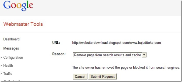 submit request eksekusi url tidak ditemukan