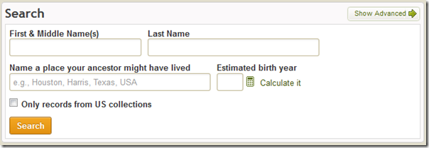 New home page search form on Ancestry.com