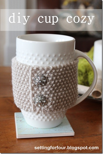 Cup Cozy DIY from Setting for Four #knit #cup #cozy #diy