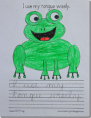 My Father&#39;s World Words to Remember Copywork: Ff for Frog
