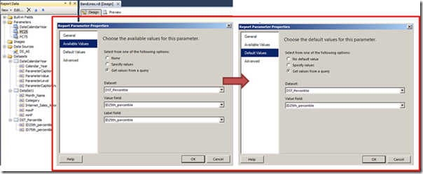 Report parameter properties for PC25 and PC75
