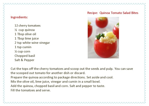 Recipe Card Quinoa Tomato Bites