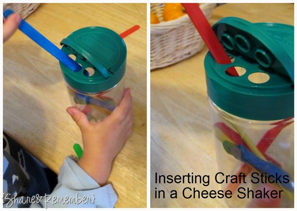 craft sticks - cheese shaker