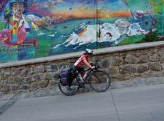 Pushing the bike uphill in Valparaiso.