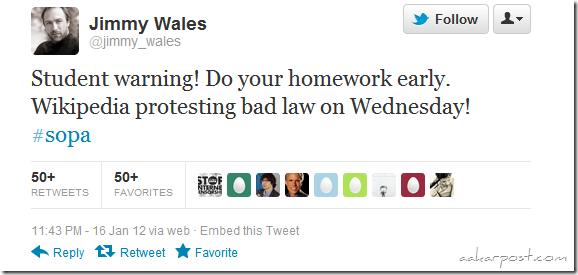 jimmy wales -tweet-wikipedia go dark