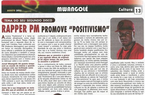 Entrevista do rapper PM no Jornal da Embaixada de Angola em Portugal