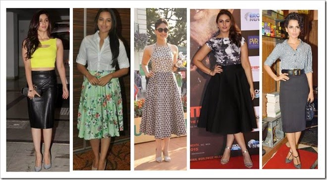 Bollywood stars in midi skirts celeb style