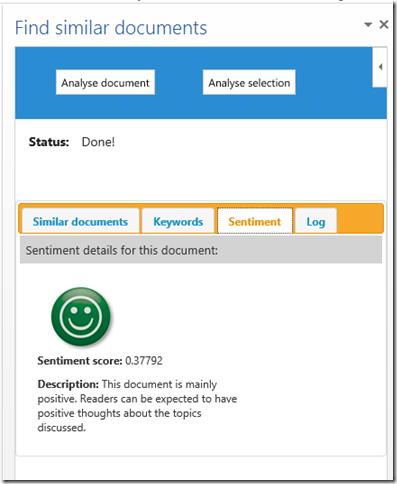Find similar docs app - sentiment
