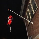 santa claus on the flag pole in Oud-IJmuiden, Noord Holland, Netherlands