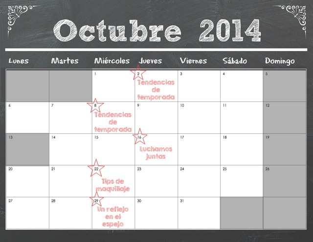 CALENDARIO TALLERES OCTUBRE 2014