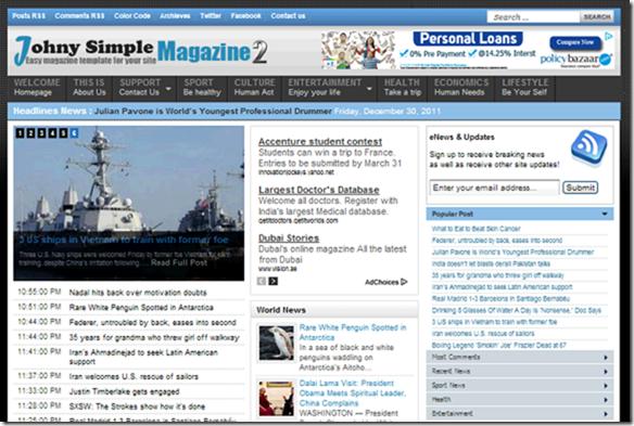 Johny simple magazine2 blogger template