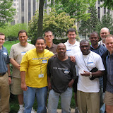 Michael Noser, Nick, Renato, Br. Denis Weber, SJ, Isaac Gordon, Fr. Paul O'Connor, SJ, Cornelius , Charles Allen, Fr. Bill Creed, SJ, Ed Duffy at retreat at Loyola Chicagoin 2007