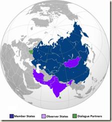 Carte des pays de membre de l'OCS