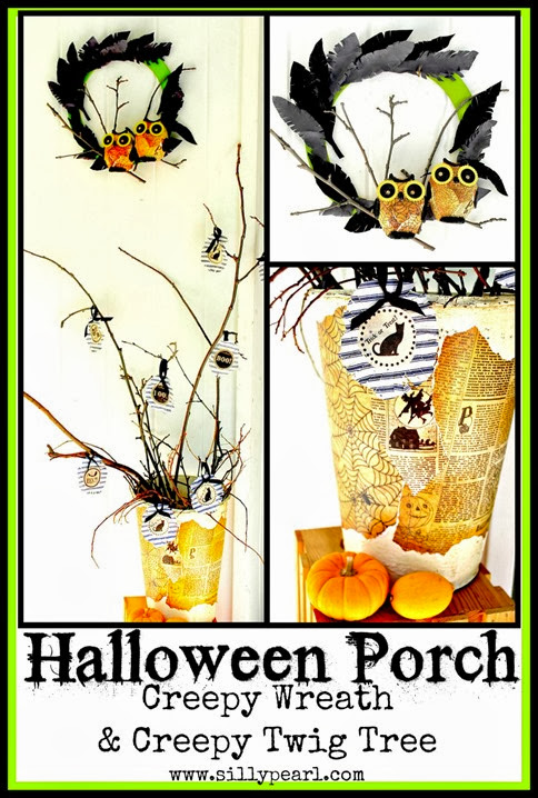 Halloween Porch - Creepy Wreath and Creepy Twig Tree - The Silly Pearl
