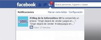 Notificaciones de páginas de Facebook - notificación fanpage