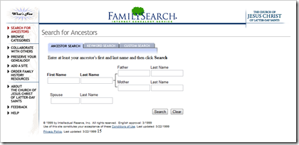 FamilySearch.org as it appeared May 1999