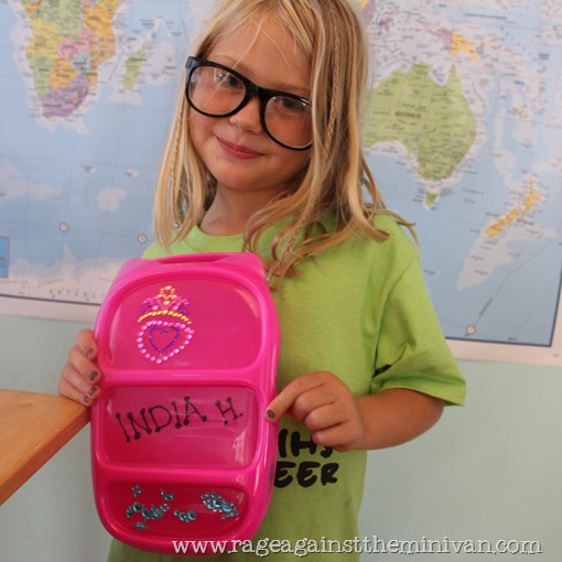 A $9 bento and a $1 cell-phone bling pack = a cheap way to personalize a kid's lunchbox and reduce waste.