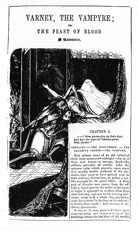 first page illustration of Varney the vampire