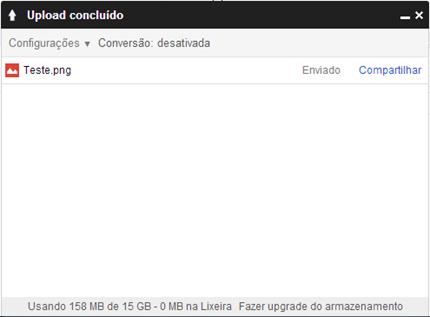 Janela de upload de arquivo do Google Drive